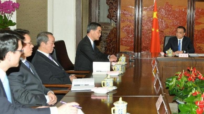 Premier Li Keqiang chairs a meeting with Chief Executive Leung Chun-ying during his duty visit to Beijing.