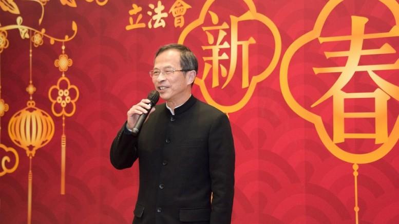 Legislative Council President Tsang Yok-sing speaks at the Legco spring reception.