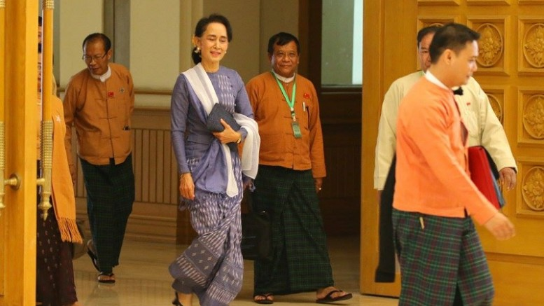 Myanmar democracy crusader Aung San Suu Kyi takes several cabinet posts in the Myanmar government after the National League of Democracy she led won the November election.