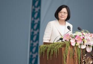 Tsai Ing-wen, Taiwan's President, gives inaugural speech.