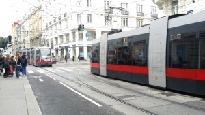 Low-floor designs for trams are introduced.