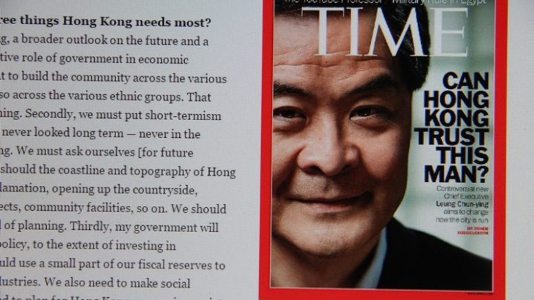 TIME magazine puts this question on their cover on June 30, 2012: Can Hong Kong trust this man? Four years on, most HKers have an answer.