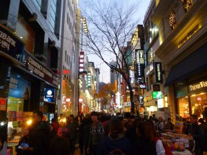 Shopping street in Seoul.