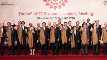 Chinese President Xi Jinping and Chief Executive Leung Chun-ying join Apec leaders for a group photo at the end of a summit in Peru.