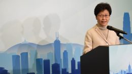 Carrie Lam, former chief secretary, announces her election bid for the next chief executive.
