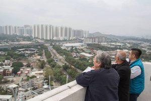 Former financial secretary, John Tsang Chun-wah, visits Yuen Long on Monday.