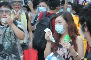 Police fire tear gas canisters to try to clear protesters in Admiralty in 2014. The Occupy Central movement lasts 79 days.