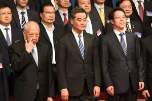 Liaison Office director Zhang Ziaoming (on left of Leung) is a strong supporter of Chief Executive Leung Chun-ying.