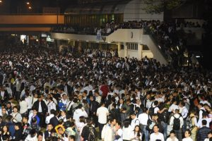 Thousands of off-duty police and their supporters hold a rally to back the seven police officers who are convicted of assault an activist during the Occupy movement.