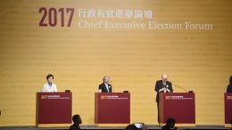 Three candidates vying for the post of Chief Executive attend the Election Forum hosted by the Election Committee Sunday night.