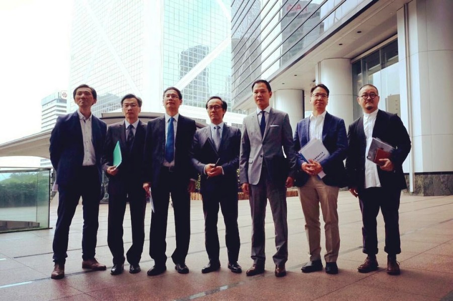 Ip Kin-kuen, third from left, and Professional Guild legislators, meet with Chief Executive-elect Carrie Lam.