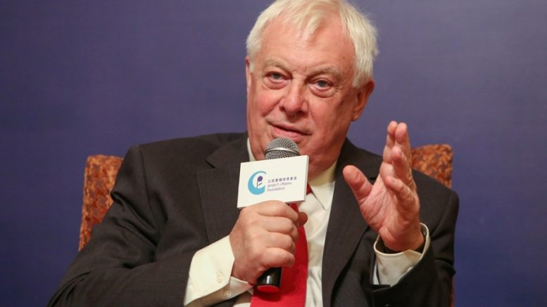 Last governor Chris Patten speaks at a Project Citizens seminar in Hong Kong in 2016.