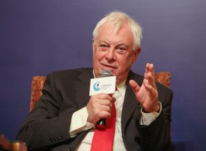 Last governor Lord Patten speaks at a seminar hosted by Project Citizens in Hong Kong in 2016.