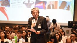 Former financial secretary John Tsang speaks at HKU on populism.