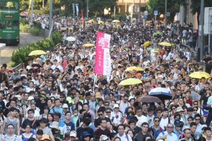 Young people come out e n masse to vent out their anger against a court ruling on the Occupy Central Student Trio.