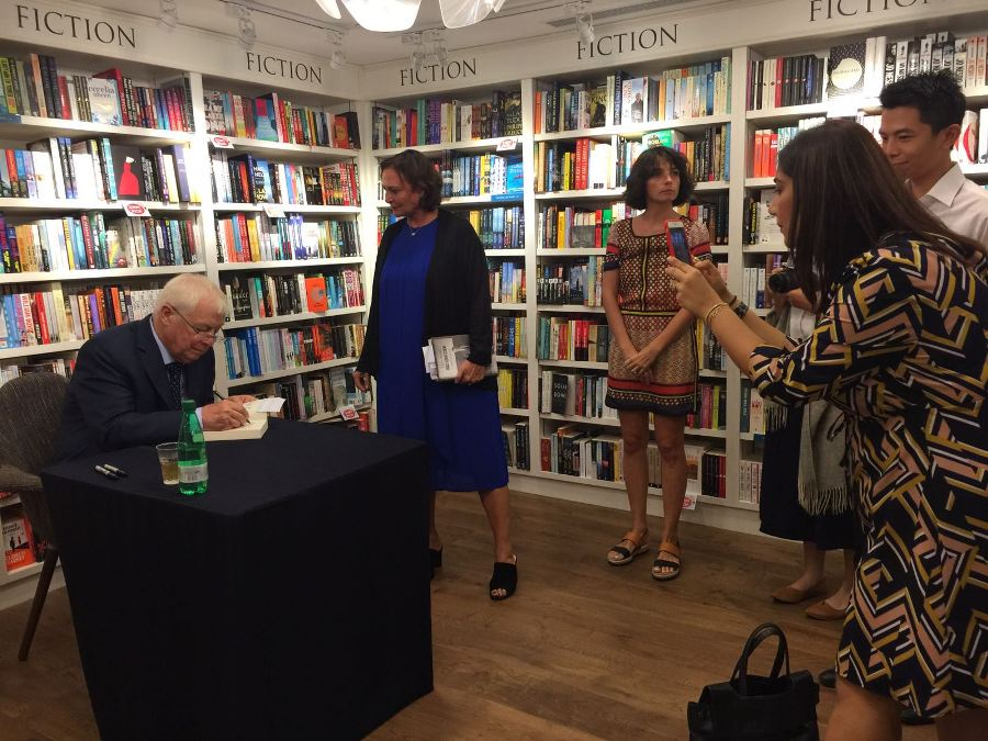 Last Governor Chris Patten attends a book-signing session during his visit in Hong Kong.