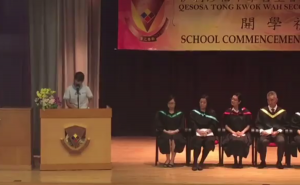 Student union leader of a Yuen Long secondary school speaks at school commencement date of her persistence of speaking up.