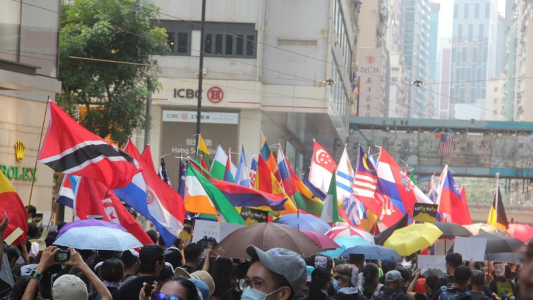Protesters raise national flags of foreign countries at a rally.