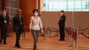 Chief Executive Carrie Lam inspects the Election Committee election centre on Sunday.