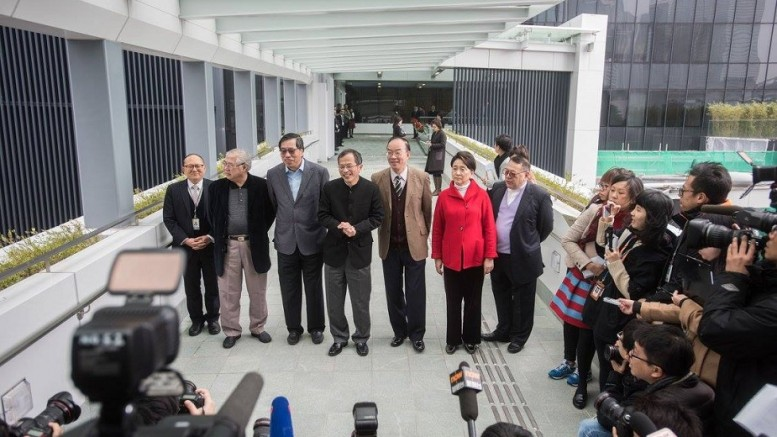A bridge too far? Legislative Council President Tsang Yok-sing and members at Legco bridge. He fears the Bills Committee system may become malfunctioning.