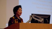 Former chief secretary and convenor of Hong Kong 2020 Anson Chan speaks at Tufts University. In her keynote speech, she says most Hong Kong people do not support independence.