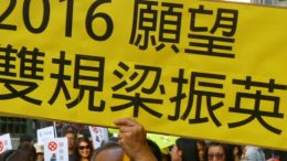 Protesters call for a probe into the alleged wrongdoings of chief executive Leung Chun-ying at the New Year's Day rally.