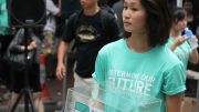 Demosisto, a new political group originated from student group Scholarism, raises donations at the July 1 rally.