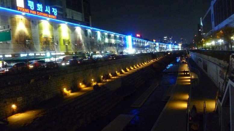 The restoration of the Han River in Seoul, known as Cheonggyecheon Restoration Project, is seen as a landmark case of re-introducing nature to the city and promoting eco-friendly urban design.