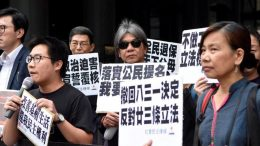 A group of pro-democracy activists lead a march calling for the withdrawal of NPC Standing Committee's 'August 31' decision on universal suffrage.