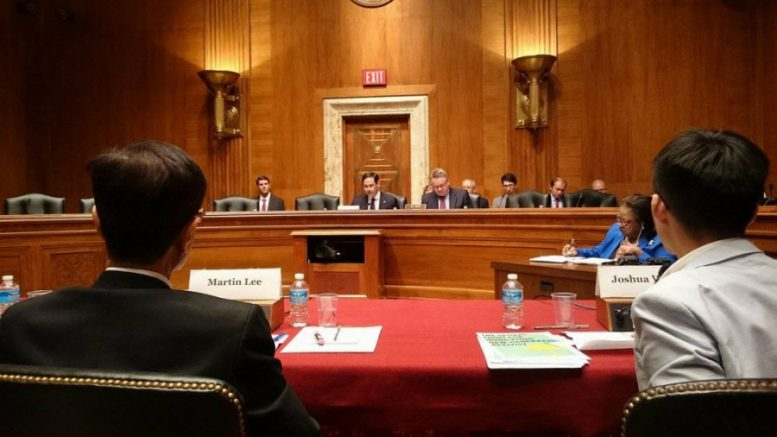 Joshua Wong Chi-fung testifies at a US congressional hearing on Hong Kong.