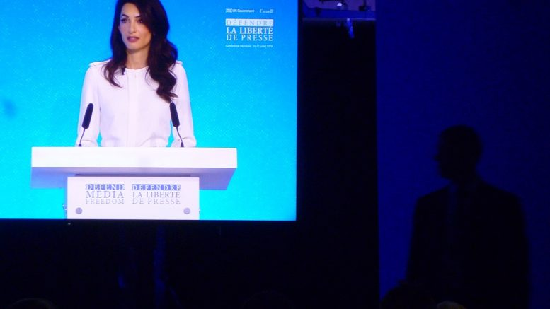 Amal Clooney, UK's special envoy on press freedom, blasts Trump at an international media freedom conference in London. Cloony is a human rights lawyer and is married to actor Mike Clooney.